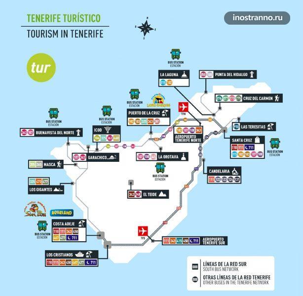 Карта автобусных маршрутов на Тенерифе