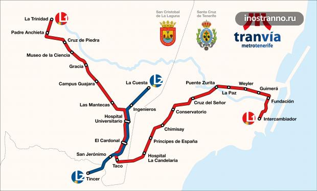 Карта трамваев в Санта-Крус Тенерифе
