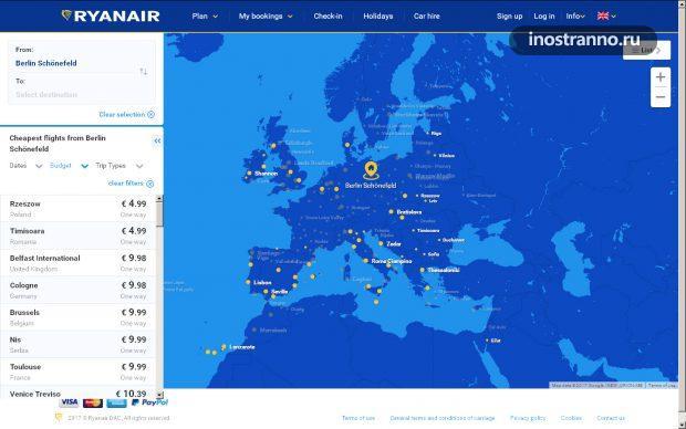 Ryanair карта полетов