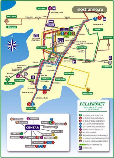 План автобусных маршрутов в Пуле