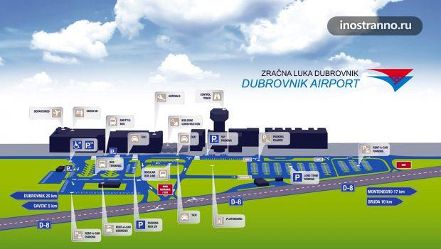 Карта аэропорта Дубровника