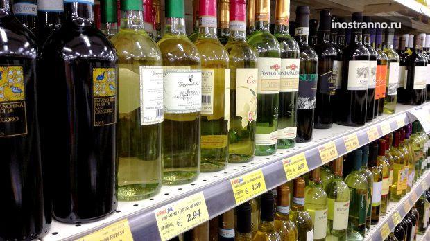 Цены на вино в супермаркете Рима