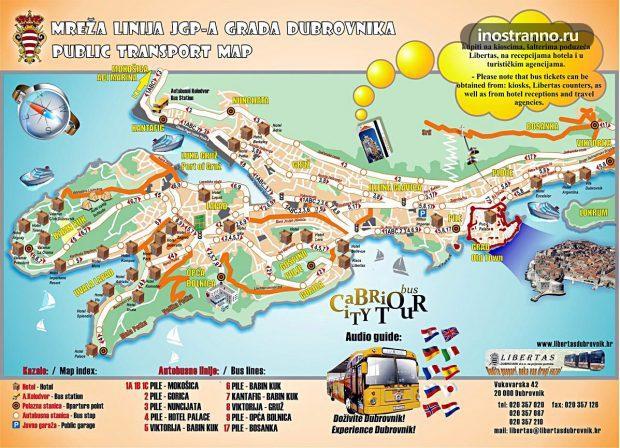 Карта общественного транспорта в Дубровнике