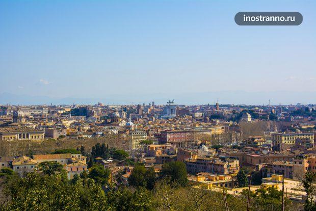 Виды с холма Яникул в Риме