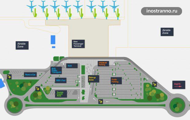 Карта аэропорта Загреба