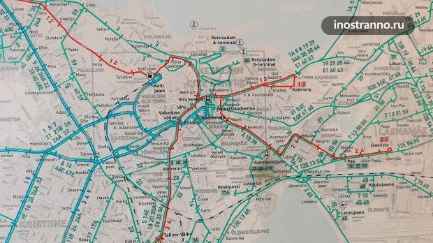 Карта на троллейбусной остановке в Таллине