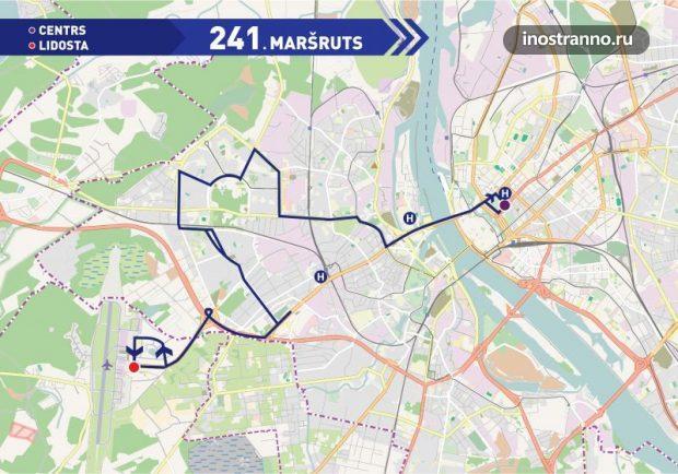 Карта маршрутки 241 из аэропорта Риги