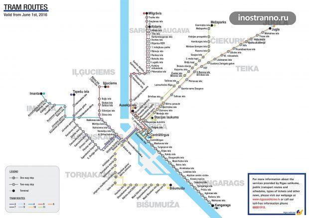 Карта схема трамваев Риги