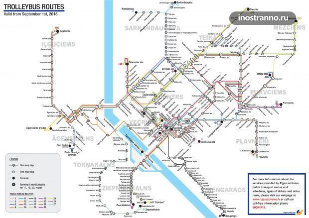 Карта схема троллейбусов в Риге