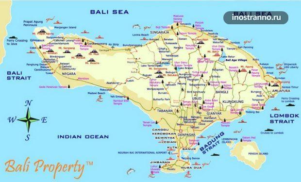 Карта городов и пляжей Бали