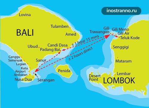 Паромы и катера с Бали на Ломбок и Гили карта
