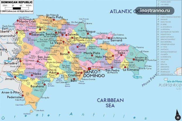 Карта пляжей и городов Доминиканы