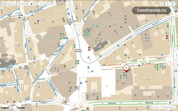 План Площади Республики в Праге