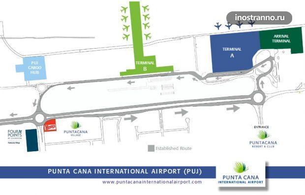 Схема международного аэропорта Пунта-Кана