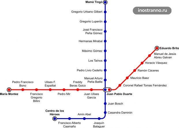 Карта метро в Санто-Доминго