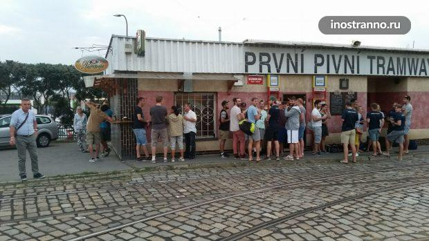 Prvni Pivni Tramway ресторан в Праге трамвай
