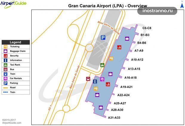 Карта аэропорта Лас-Пальмас-де-Гран-Канария