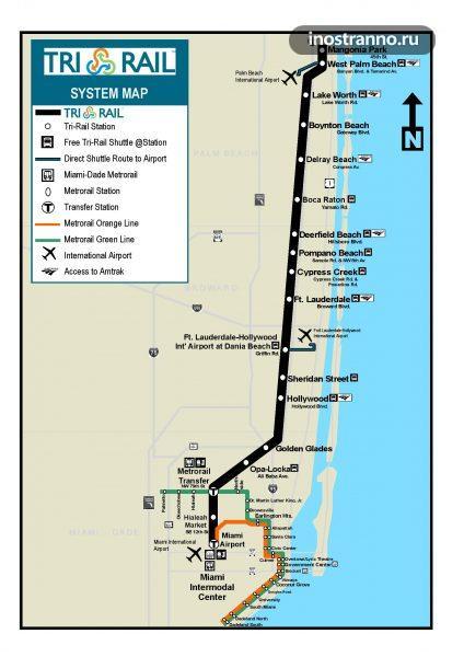 Маршрут поезда Tri Rail в Майами