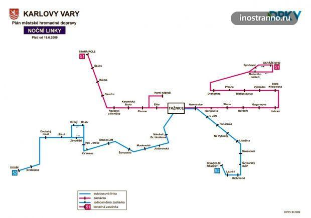 Карта ночных автобусов в Карловых Варах