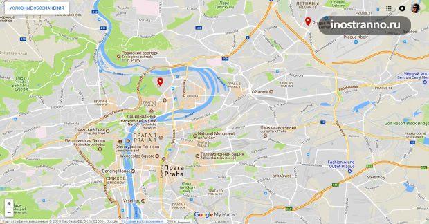 Выставочные комплексы в Праге на карте