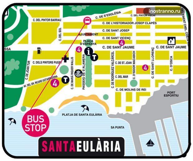 Остановка автобуса в Санта-Эулалия, Ибица