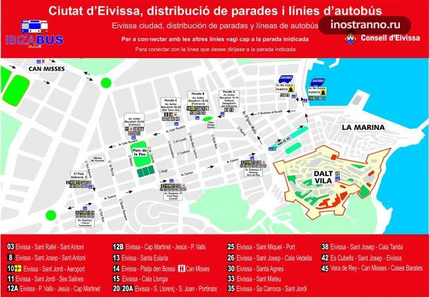Ибица столица карта автобусных остановок