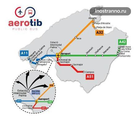 Как добраться из аэропорта Пальма-де-Майорка до курортов карта