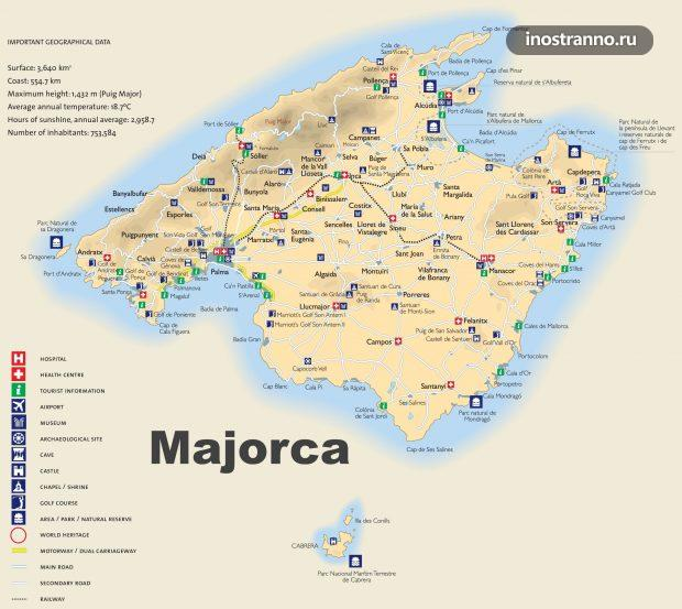 Майорка карта курортов на русском языке