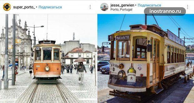 Исторический ретро трамвай в Порту