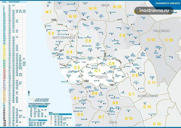 Карта тарифных зон транспорта Порту