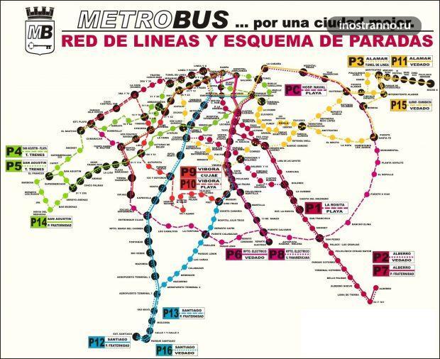 Маршруты автобусов в Гаване
