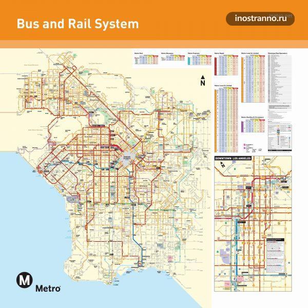 Лос-Анджелес подробная картам метро и автобусов