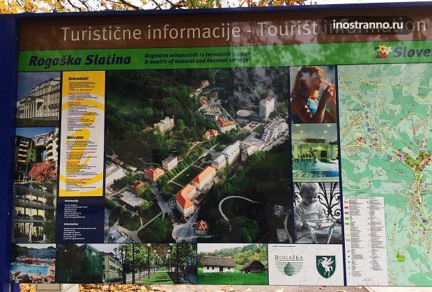 Карта курорта Рогашка-Слатина