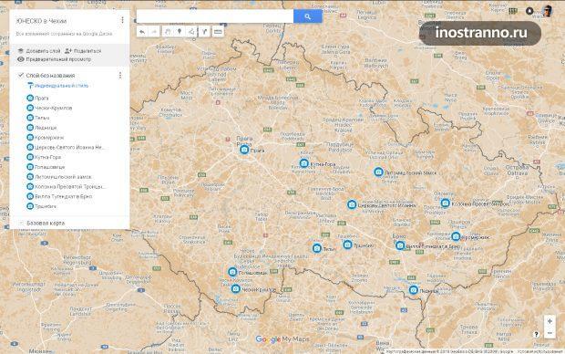Карта объектов Юнеско в Чехии