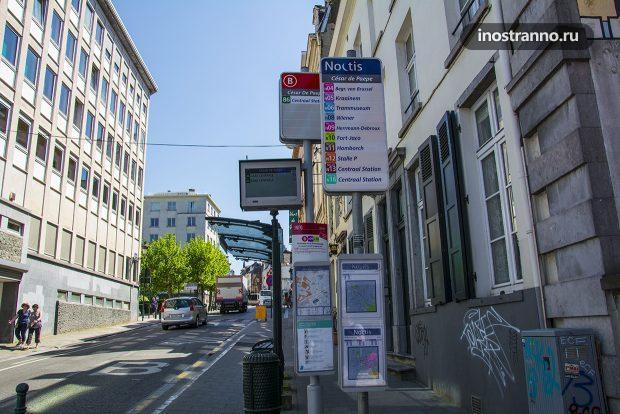 Автобусная остановка в Брюсселе
