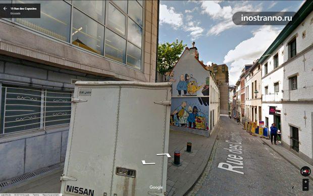 Граффити комикс Blondin & Cirage 19 Rue des Capucins Brussels