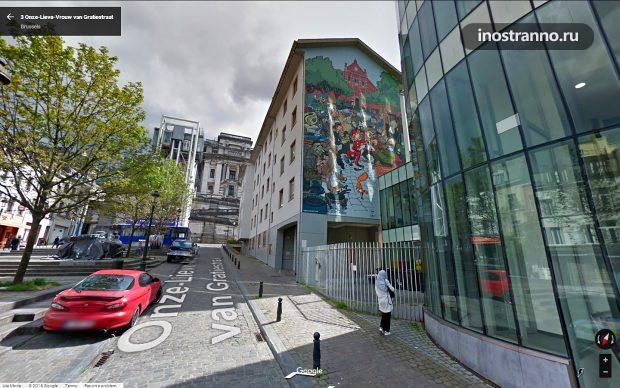 Граффити в Брюсселе комикс Fresque BD Spirou