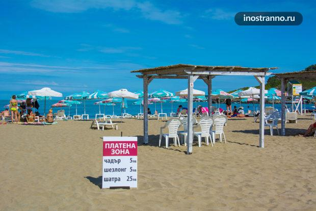 Пляж в Болгарии цены на шезлонг и зонтик