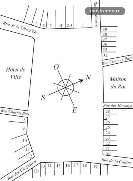 Карта схема Площадь Гран Плас в Брюсселе