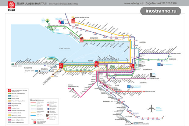 Карта общественного транспорта Измира