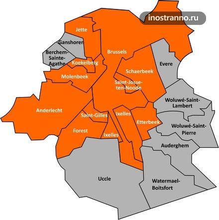 Карта районов Брюсселя