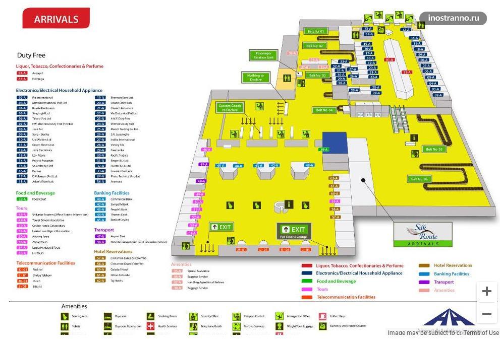 Терминалы аэропорта Шри-Ланки Бандаранайке карта