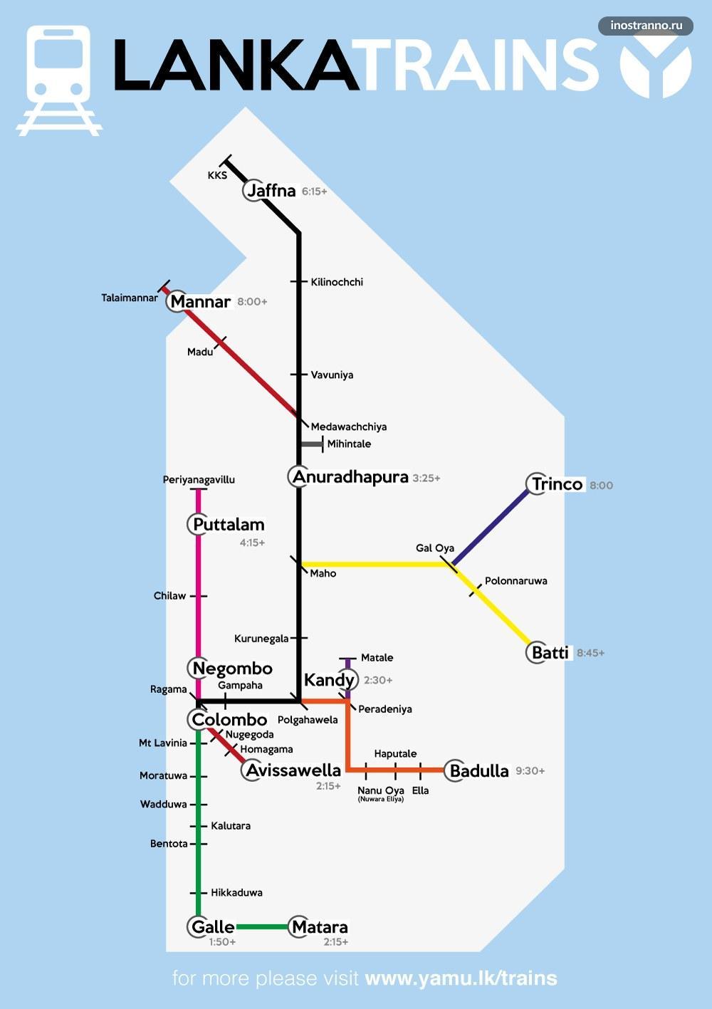 Карта поездов железнодорожной сети на Шри-Ланке