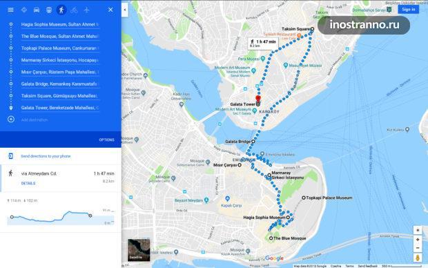 Маршрут прогулки по Стамбулу или как увидеть Стамбул за один день