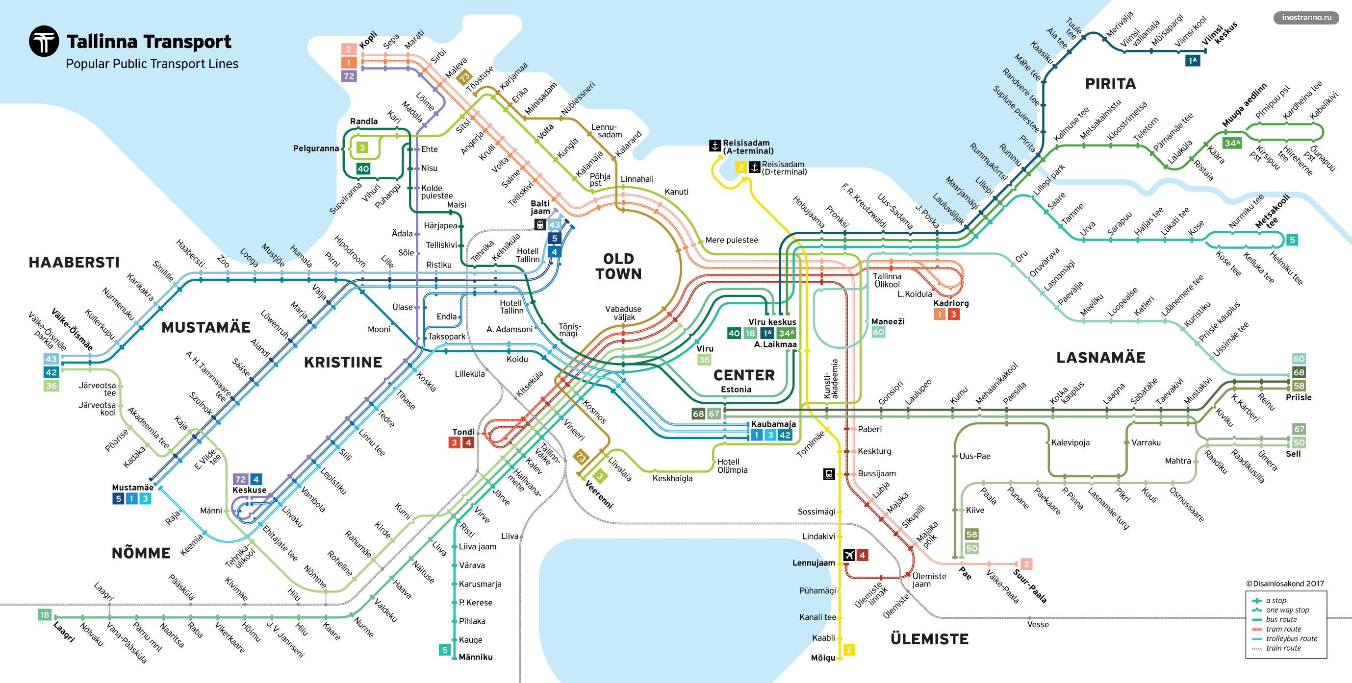 Карта схема трамваев и автобусов Таллина