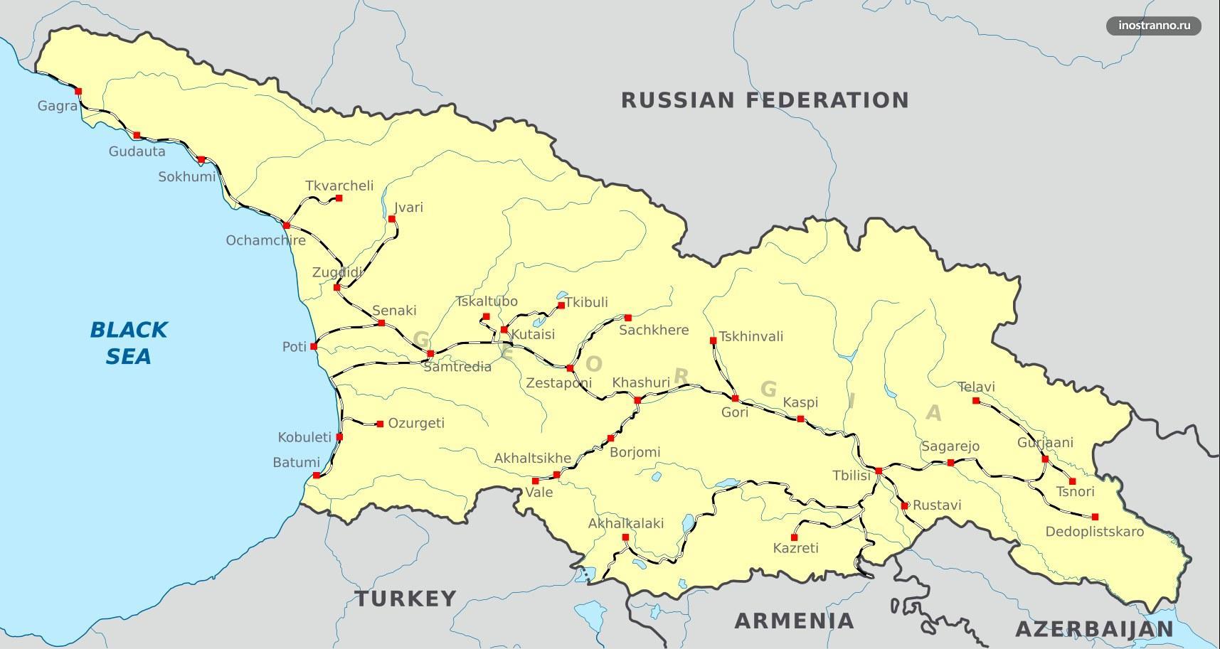Грузия карта железных дорог и поездов