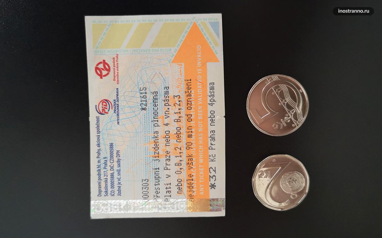 Как выглядит билет на проезд в метро трамвае и автобусе в Праге