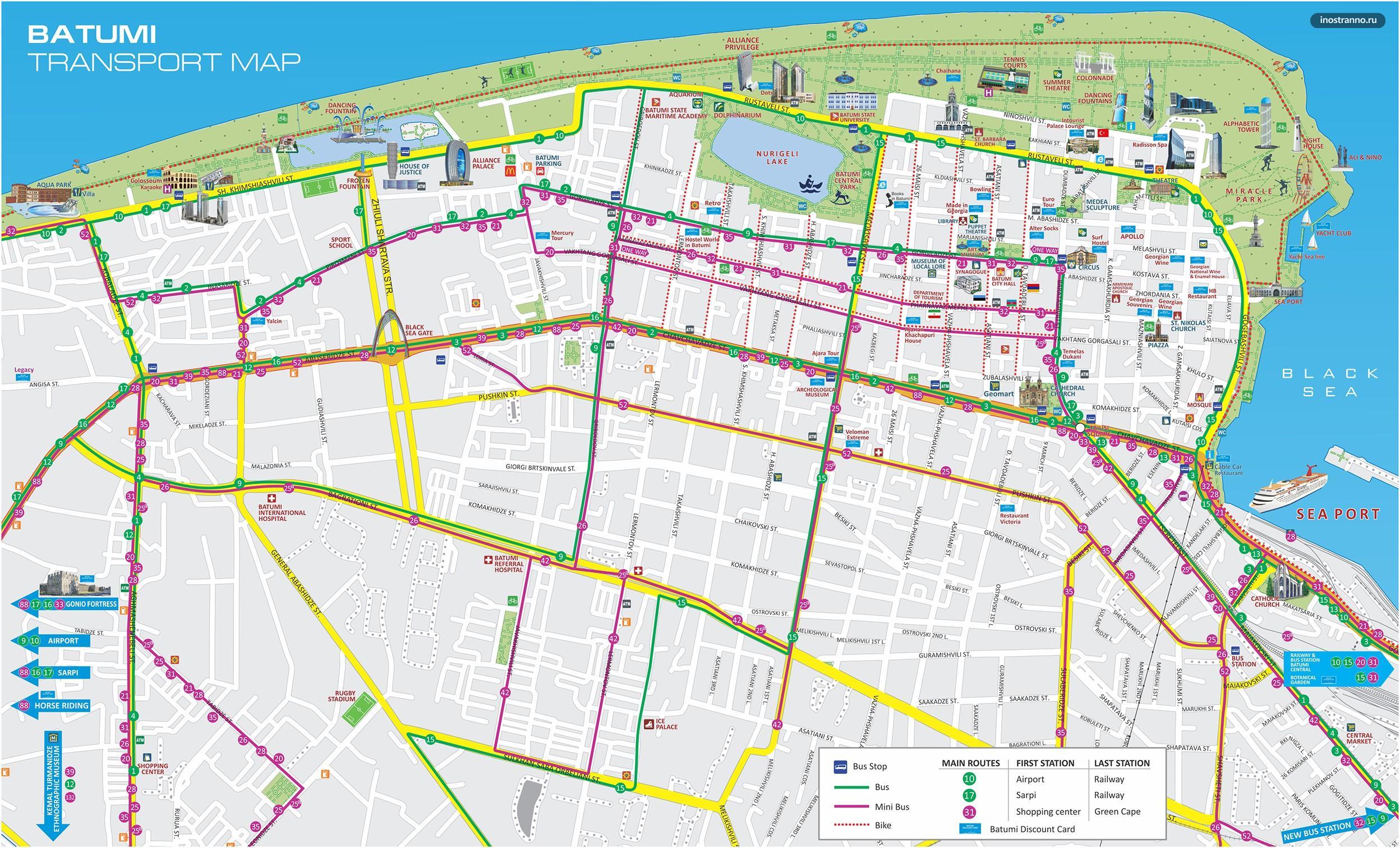 Карта Батуми на русском с улицами и транспортом