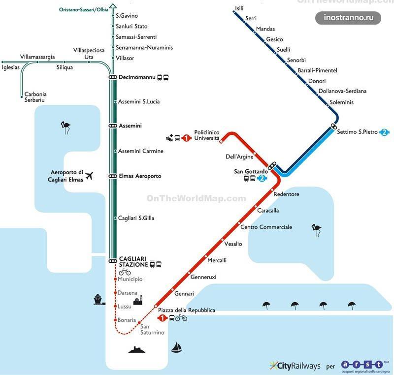 Карта метро Кальяри