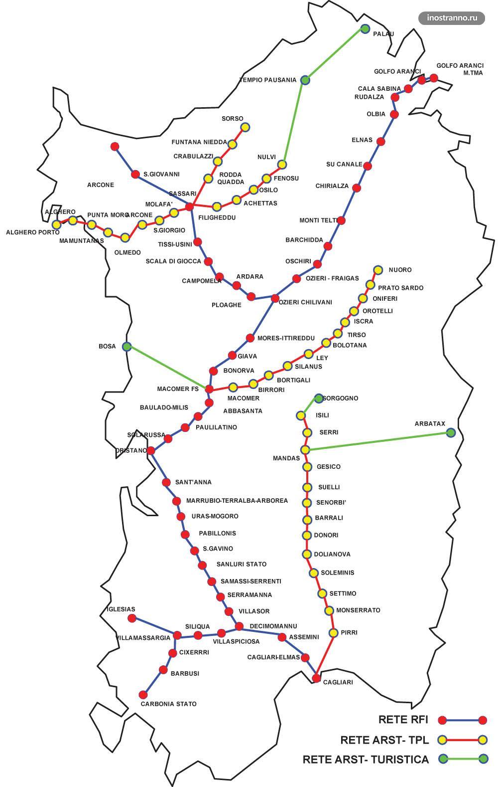 Карта железных дорог Сардинии